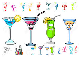 martini cocktail cartoon happy cocktails drinks cartoon characters with straws and lime