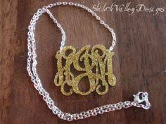 2 Inch Monogram Necklace 2 Inch Acrylic Monogram Necklace By Shilohvalleydesigns On Etsy