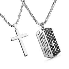 men cross necklace images Jewelrieshop stainless steel mens cross necklace lord 39 s prayer dog JPG