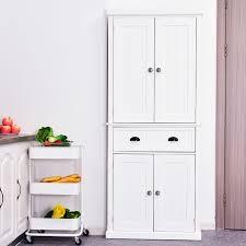white kitchen storage cabinet homcom kitchen storage cabinet wooden cupboard