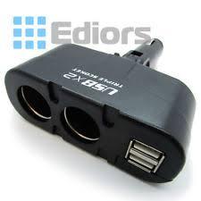 Multi Socket Car Charger With Usb Port 3 Way Car Cigarette Lighter Socket Splitter Adjustment 90degree Ebay