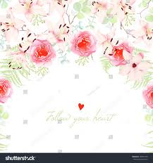 Discover Card Invitation Wedding Lilies Rose Flowers Vector Card Stock Vector 300597740