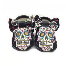 sugar skull baby vegan shoes with bibdana headband bow tie baby