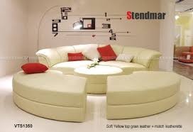 Round Sofa Sectional by Haram Furniture Modern Round Style Soft Yellow Leather Sectional