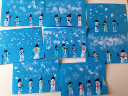 thank you christmas cards snowman finger printing crafts
