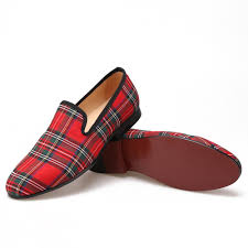 plaid red fabric loafers merlutti