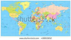 map all detailed political world map countries cities stock vector
