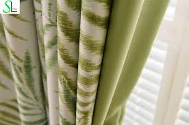 Living Room Curtains Silk Online Shop Modern Curtains For Living Room Green Leaves Printed