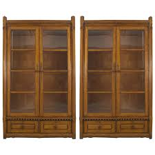 Oak Bookcases For Sale Pair Of English Arts And Crafts Movement Glass Door Oak Bookcases