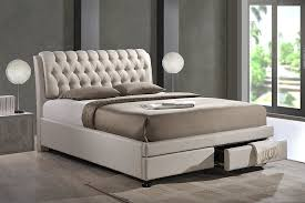 Storage Beds Queen Size With Drawers Amazon Com Baxton Studio Ainge Contemporary Button Tufted Fabric