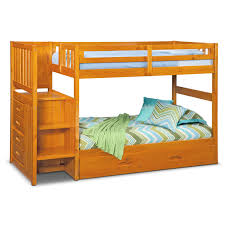 Twin Loft Bed With Stairs Ranger Twin Over Twin Bunk Bed With Storage Stairs U0026 Trundle