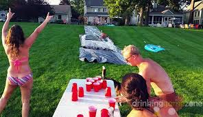 Backyard Slip N Slide N Flip Drinking Game