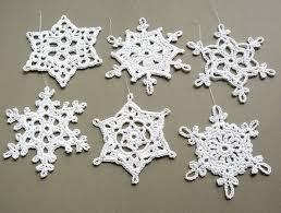 6 crochet decorations large snowflake assortment