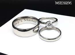 wedding rings set engraved couples 3 wedding rings set dom sub