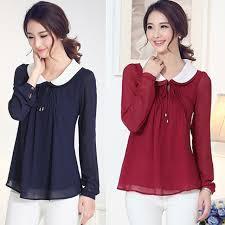 new 2015 summer women blouses long sleeve blouse peter pan collar