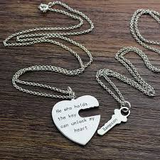 silver heart key necklace images Matching necklace heart key necklace set silver personalized bff jpg