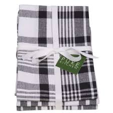 now designs kitchen towels now designs jumbo check tea towels set of 3 black dexam at