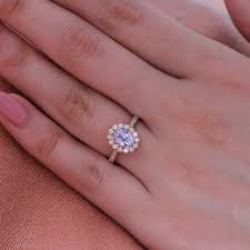 light blue sapphire ring natural light blue sapphire engagement ring in 14k rose gold halo