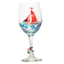 sailboat painted wine glass custom wine glasses design