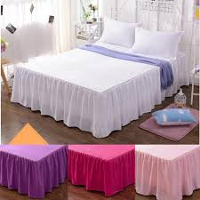 Ruffled Bed Set Cotton Solid Color Bed Skirts Pillowcase Bed Sheet Bedding Set