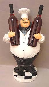wine kitchen canisters chef wine bottles holder statue restaurant decor kitchen
