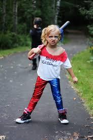 toddler halloween leggings harley quinn red blue split stretch lycra leggings