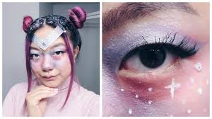 galaxy freckles space princess makeup and hair halloween