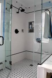 bathroom white and black diamond mosaic tile floor for shower
