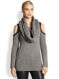 cold shoulder sweaters lyst yigal azrouël leathertrimmed cold shoulder sweater in gray