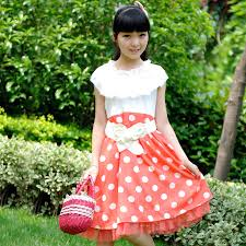 white and red color summer frocks for 6 year old girls