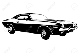 Classic American Muscle Cars - american muscle car vector illustration royalty free cliparts