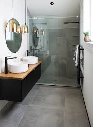 cat u0026 jeremy u0027s ensuite uses the cementia grey 75 tile makes the