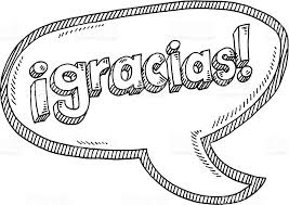gracias spanish text speech bubble drawing stock vector art