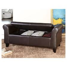 storage ottoman bench brown henry leather storage ottoman bench brown abbyson living target