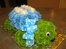 turtle flower arrangement blue shell for a boy baby shower