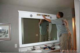 Framed Bathroom Mirrors Ideas Remodelaholic Framing A Large Bathroom Mirror