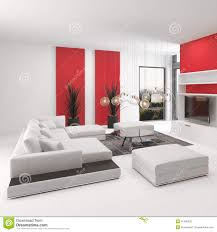 modern living room interior with vivid red accents stock