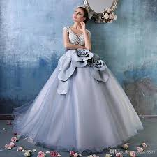 dresses for sweet 15 cinderella dusty blue debutante gowns luxury pearls 3d floral