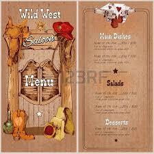 wild west saloon restaurant menu template with saddle cowboy