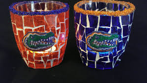 florida gator fan gift ideas a pair of handcrafted stained glass mosaic florida gator candle