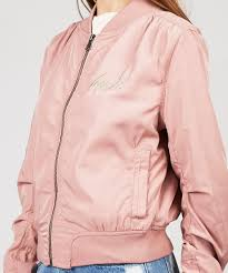 pink clothing insight embroidered crane bomber jacket dusty pink jackets