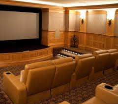 home theater wall sconce movie room decor mediterranean austin with linen club chairs