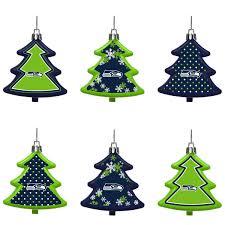 seattle seahawks six pack shatterproof tree ornament set
