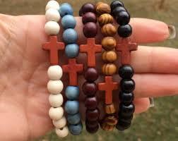 beaded bracelet with cross images Wood cross bracelet etsy jpg