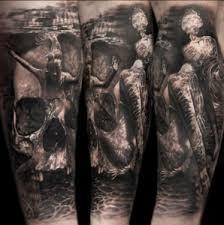 skull half sleeve tattoos center