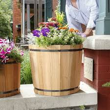 real wood products wbg whiskey barrel garden planter