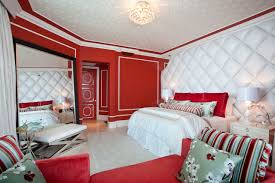 bedroom endearing red bedroom ideas with red vinyl headboard and