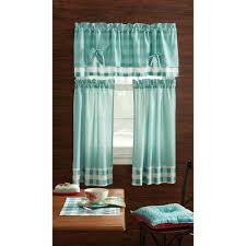 Teal Curtain Pioneer Kitchen Curtain And Valance 3pc Set Charming Check