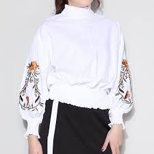 elastic waist blouse 2017 autumn puff sleeve flower embroidery blouse turtleneck