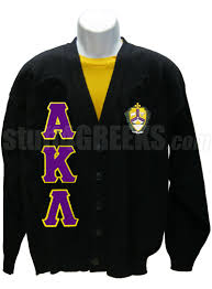 alpha kappa lambda cardigan with greek letters and crest black